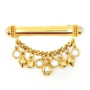 St. John Gold Tone Pearl Bar Pin w/ Charm Chain